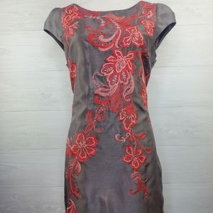 Monsoon Gray Sheath Dress Red Embroidery size 10